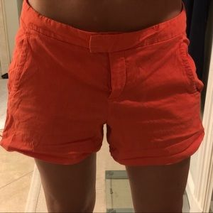 Theory Shorts - Theory Orange Linen Shorts